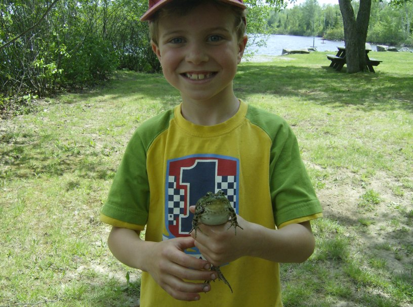 Justin has a talent for frog-catching - good thing you can't get warts from frogs!